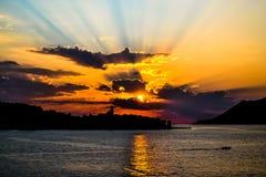 Solnedgång på Korcula Arkivfoton