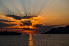 Solnedgång på Korcula Royaltyfria Foton