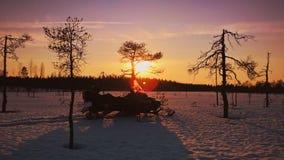 Solnedgång på Kurkisuo Arkivfoton