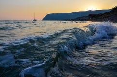 Solnedgång på kusten Royaltyfria Foton