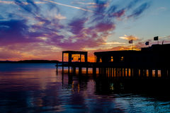 Solnedgång på Lago Trasimeno Royaltyfri Fotografi