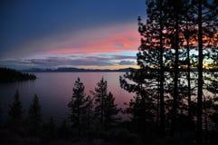 Solnedgång på Lake Tahoe Royaltyfria Bilder