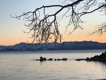 Solnedgång på Lake Tahoe i en vinterafton royaltyfria bilder
