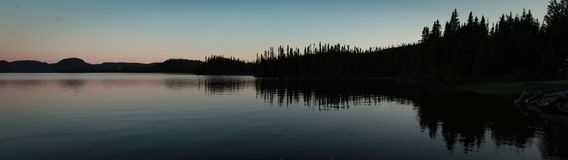 Solnedgång på laken Arkivbild
