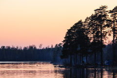 Solnedgång på laken Arkivfoton