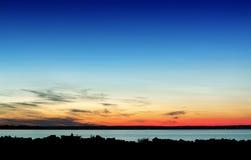 Solnedgång på laken Balaton Arkivbilder