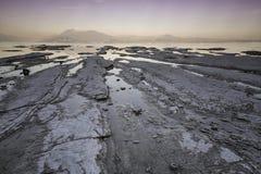 Solnedgång på laken Garda Arkivfoton