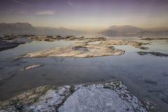 Solnedgång på laken Garda Arkivfoto