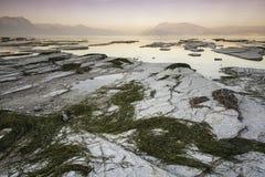 Solnedgång på laken Garda Royaltyfria Foton