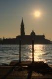 Solnedgång på landningetapp Royaltyfri Foto