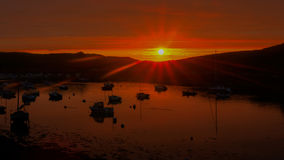Solnedgång på Le Conquet Arkivbilder