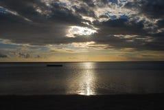 Solnedgång på Le Morne - Mauritius Arkivfoto
