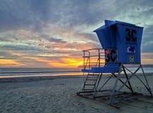 Solnedgång på livräddaren Tower, Coronado, Kalifornien, USA Fotografering för Bildbyråer