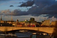 Solnedgång på London Royaltyfria Foton