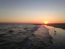 Solnedgång på Long Beach Royaltyfri Fotografi