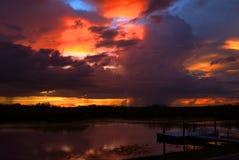 Solnedgång på Loxahatchee den nationella djurlivfristaden Arkivbild