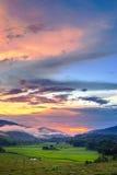 Solnedgång på Mae Chan, Chiang Rai Province arkivbild