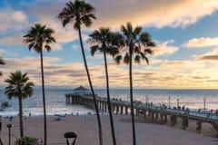 Solnedgång på Manhattan Beach i sydliga Kalifornien, Los Angeles arkivfoto