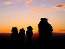 Solnedgång på Manpupuner Arkivbilder