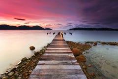 Solnedgång på Marina Island, Malaysia Arkivbild