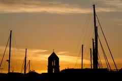 Solnedgång på marinaen Arkivfoto