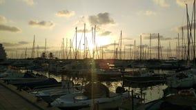 Solnedgång på marinaen Royaltyfria Bilder