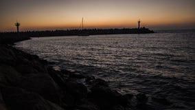 Solnedgång på marinaen Royaltyfria Foton