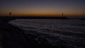 Solnedgång på marinaen Arkivbild