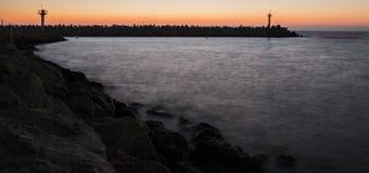 Solnedgång på marinaen Arkivbilder
