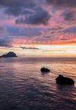 solnedgång på Mauritius Arkivbilder