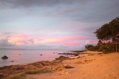 solnedgång på Mauritius Royaltyfri Bild
