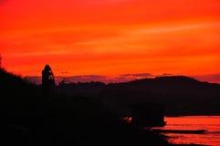 Solnedgång på Mekong River. Arkivbilder