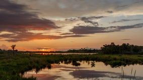 Solnedgång på Merritt Island National Wildlife Refuge, Florida Arkivfoto