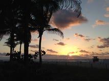 Solnedgång på Miami Beach Royaltyfria Bilder