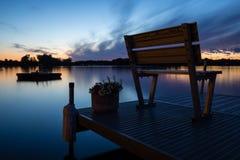 Solnedgång på Michigan en sjö royaltyfri fotografi