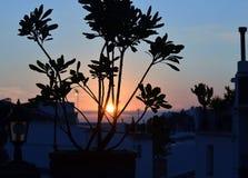 Solnedgång på Mijas, Andalucia, Spanien Arkivfoton