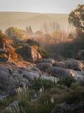 Solnedgång på Mina Clavero Arkivfoton