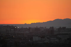 SOLNEDGÅNG PÅ MISHIMI I JAPAN Arkivbild