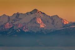 Solnedgång på Mont Blanc Arkivfoto