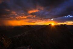 Solnedgång på monteringen Evans Arkivbild