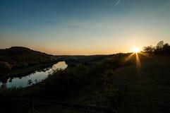Solnedgång på moselen Arkivfoton