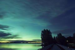 Solnedgång på Myllysaari, Lahti Finland Royaltyfri Fotografi
