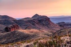 Solnedgång på nationalparken för krökning för Sotol utsikt den stora Arkivbild