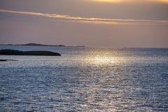 Solnedgång på Nordsjön royaltyfri fotografi