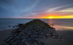 Solnedgång på Nordsjön Royaltyfria Foton