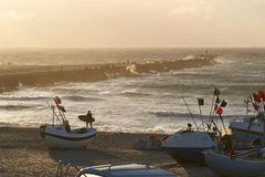 solnedgång på Nr Vorupoer på Nordsjönkusten i Danmark Royaltyfri Foto