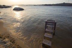 Solnedgång på Orinocoet River och stranden, Ciudad Bolivar, Venez Arkivfoton