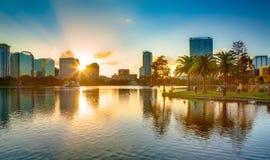 Solnedgång på Orlando fotografering för bildbyråer