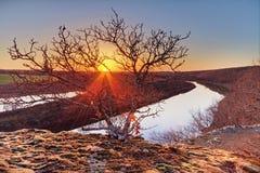 Solnedgång på Osaget River Arkivfoto