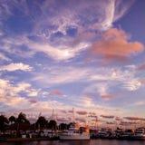 Solnedgång på PAFB Arkivfoto